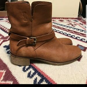 J Crew all leather buckled biker boots size 10
